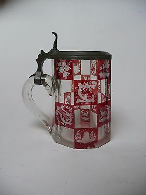 Antique Bohemian Ruby to Clear Layered Glass Beer Stein, nature, art etching
