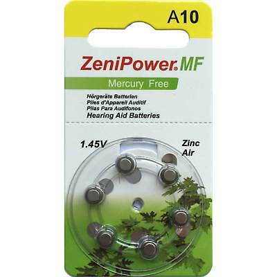 Zenipower Mercury-free Hearing Aid Batteries | Size A10 | 1.45v | 60 cells