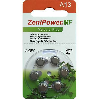 Zenipower Mercury-free Hearing Aid Batteries | Size A13 | 1.45v | 60 cells