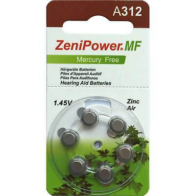 Zenipower Mercury-free Hearing Aid Batteries | Size A312 | 1.45v | 60 cells