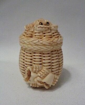 Rare 19Th.c Japanese Netsuke Crab Basket,stag Horn C.1850 Signed