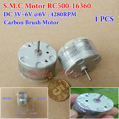 Micro S.M.C RC500-16360 Round Electric Motor DC 3V-6V 4280RPM Carbon Brush New