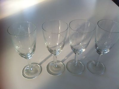 Antique?/Vintage etched wine glasses x 4- very old