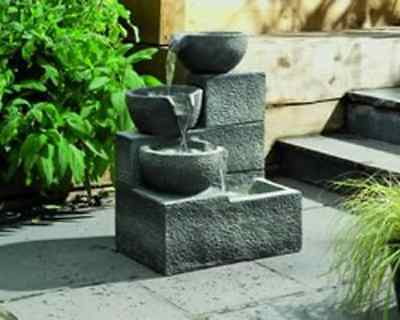 Water Feature Three Tier Fountain Cascade Garden Effect Stone Barrel Outdoor New