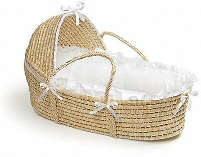 Badger Basket - Natural Moses Basket With Hood And White Bedding
