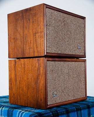 Vintage Speaker Set Frazier Monte Carlo Walnut Wood Case Hifi Mid Century Tested
