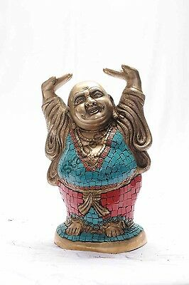 Happy Vintage Smiling Laughing Buddha Good Luck Charm Brass Chinese Buddhism 11""