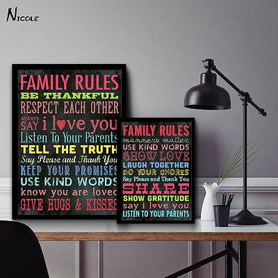 Family Rules - Motivational Quote Minimalist Art Canvas Poster Picture
