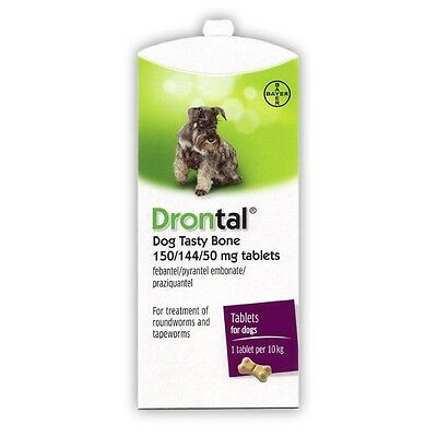 Dron Tal Worming Tablets for Dogs - Tasty Bone Flavour Wormer - 2 Tabs = 2 Doses