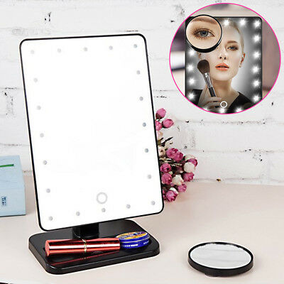 20 LED Light Make-Up Tabletop Mirror & 10X Magnifying Touch Screen 180 Swivel