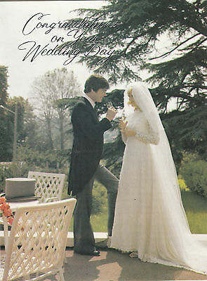 Wedding Day Congratulations Vintage 1970's Greeting Card Retro Kitsch