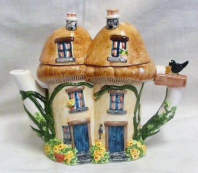 Vintage The Village Collectables Mushroom Cottage Teapot By Annie Rowe