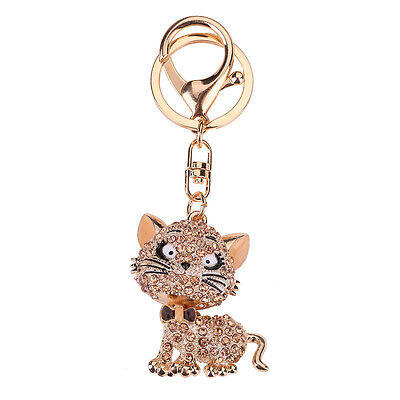 Bling Cat Crystal Rhinestone Keychain Fob Car Holder Purse Pendant Keyring Gift