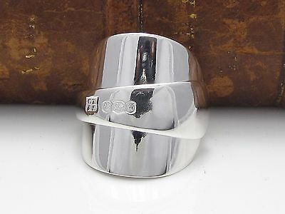 Stunning Chunky Inverted Solid Sterling Silver Spoon Ring -Size S