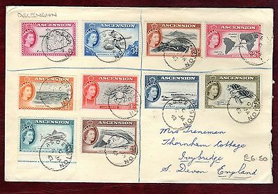 """ASCENSION STAMPS- QEII country scenes up to 1s, """"R"""" cover to UK, 1962"""