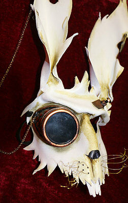 Steampunk Hare  Rabbit Bunny Mask Handmade Leather Venetian Masquerade