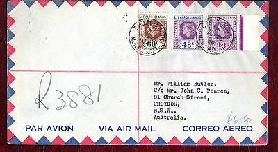 "LEEWARD ISLANDS STAMPS- QEII portrait 12c,48c,60c,""R"" cover to Australia,1956"