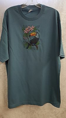 Toucan Bird, Tropical Parrot, Embroidered on a XLarge Lt Teal T-Shirt