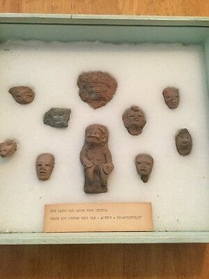 10 Piece Pre Colombian Face And Figure Lot In Display