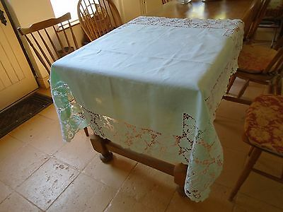 Vintage Hand Embroidered Pure Linen Tablecloth - Cut Work - In Mint Green