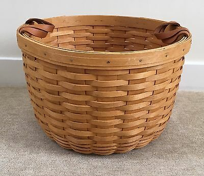 "Longaberger 1997 13"" x 9"" Large Round Bushel Basket with Leather Handles"