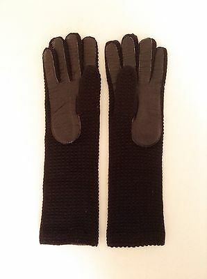 Vintage Ladies Gloves Leather Palm Brown Knit NEW Toni Imports Japan