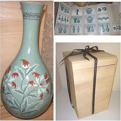 JADE GREEN KOREAN CELADON KORYO BALUSTER GLAZED VASE POTTERY ART SIGNED w/BOX
