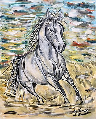 Original Acrylic Painting 'White Horse Lost In The Desert'