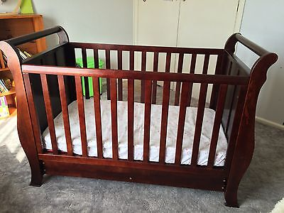 3 in 1 Sleigh Cot crib Toddler Bed with Drawer