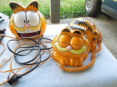 Garfield Phone - Eyes Open and Close -  One Piece Telephone & ALARM  CLOCK