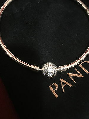 "Pandora Bangle With ""snowflake"" Clasp And Disney Tinkerbell Charm - Bnib"