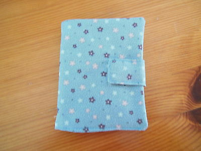 New Sewing Needle Case With Six Felt Leaves Velcro Fastening Blue Floral Fabric