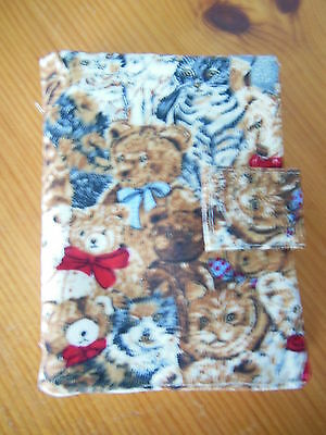 New Sewing Needle Case With Six Felt Leaves Velcro Fastening Dog & Teddy Fabric
