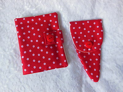 Sewing Needle Case 6 Felt Pages Also Matching Scissor Case Red Hand Made