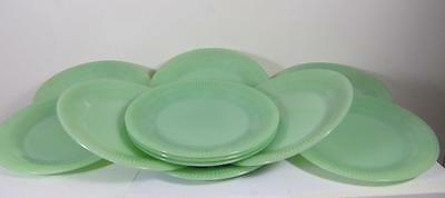 Vintage Lot Of Eleven (11) Fire King Jadeite Jadite Jane Ray Salad Plate