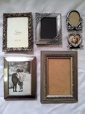 Mixed Lot of 6 Silver/Bronze/Gold Tone Decorative Ornate Small Picture Frames