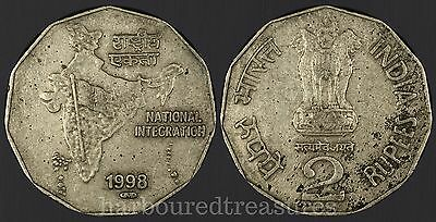 1998 P India 2 Rupees world coin  Pretoria National Integration