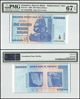 Zimbabwe 100 Trillion Dollars, 2008, P-91, UNC, Replacement/Star, PMG 67 EPQ
