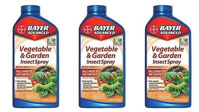 3 Pack BAYER Advanced 701521 Vegetable and Garden Insect Spray Concentrate 32-Oz