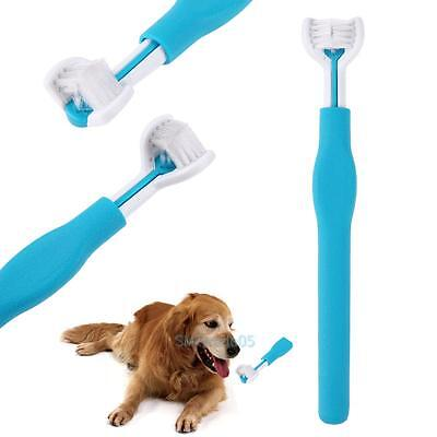 3-Sided Pet Dog Cat Toothbrush Soft Brush Dental Care Teeth Cleaning Supplies X1