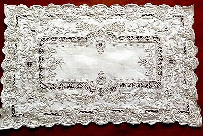 Antique / Vintage Hand Embroidered White Linen Silvery Taupe Table Centre Cloth