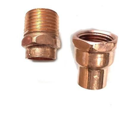 """End Feed Male/Female Coupler Copper Adaptor 15mm-1/2"""" - 22mm-3/4"""""""