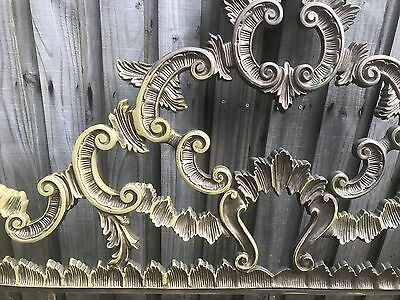 STUNNING Antique Vintage Rococo French Provincial Gold Metal King Headboard Gilt