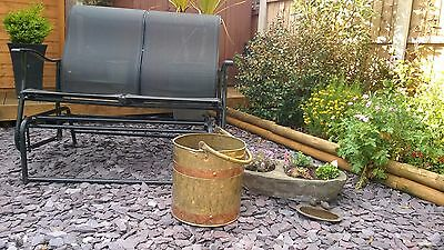Large Vintage Brass & Copper Coal / Log Scuttle / Bucket with Brass Handle