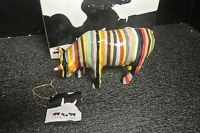 2005 Cow Parade Cowparade Striped Cow #11255 With Box, Tag And Packing