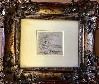 Rare ! Camille Pissarro  (1830-1903) Original Charcoal Drawing On Paper C/framed