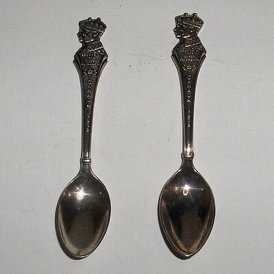 Silver Spoons. 1937 Coronation King George & Queen Elizabeth. Lot of 2