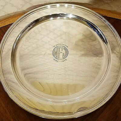 "VINTAGE 12"" 708 GRAM Tiffany & Co. STERLING .925 SILVER PRESENTATION PLATE"