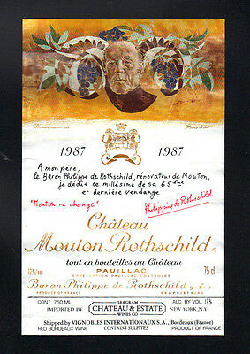 1987 Mouton Rothschild Wine Label - Authentic - Hans Erni