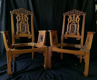 Very rare Pair Antique Chinese Ming Dynasty Type 'Rose' Low Chairs Huanghuali?